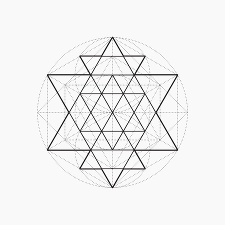 Illustration pour Geometric shapes, line design, triangle, sacred geometry, abstract symbol of the constitution of man, vector illustration - image libre de droit