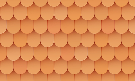 Illustration for Shingles roof, ceramic orange background, seamless pattern, clay tile, vector illustration - Royalty Free Image