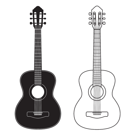 Ilustración de Guitar icon, silhouette, line design. Vector illustration isolated on white - Imagen libre de derechos