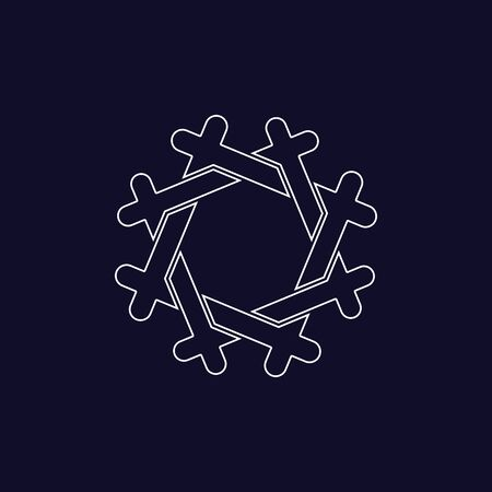 Illustration for Geometric frame, line design, editable strokes. Polygonal shape. Vector illustration - Royalty Free Image