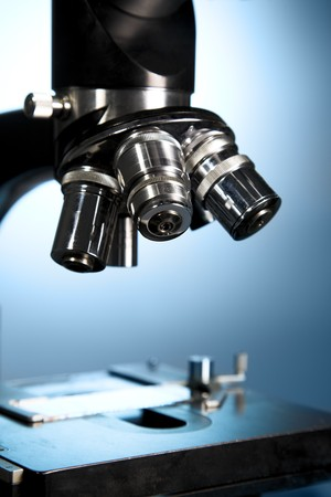 A close up of a microscope