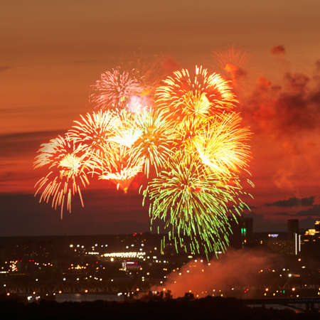 Photo for Fantastic fireworks over night city - Royalty Free Image