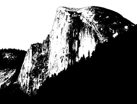Yosemite Half Dome illustration, black and white