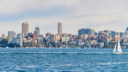 City skyline from the ferry heading to Manly in Sydney, Australia