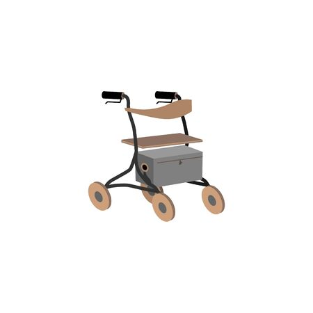 Rollator for older people and rehabilitation. Colorful flat style vector illustration can be used in greeting cards, posters, flyers, banners, promotions, invitations, hospital promotions etc. EPS10