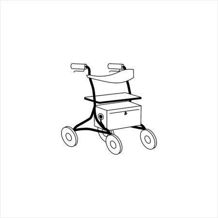 Rollator for older people and rehabilitation. Black outline flat style vector illustration can be used in greeting cards, posters, flyers, banners, promotions, invitations, hospital promotions etc. EPS10