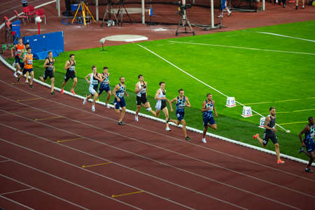 Photo for OSTRAVA, CZECH REPUBLIC, SEPTEMBER. 8. 2020: Track and Field Race, professional athletes on athletics Track. 800 meters race. Preparation for summer game in Tokyo 2021 - Royalty Free Image