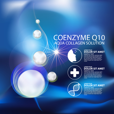 Photo pour coenzyme q10 Serum and Background Concept Skin Care Cosmetic. - image libre de droit