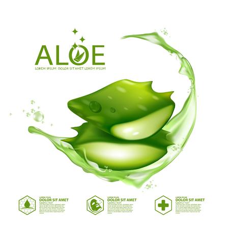 Illustration pour Aloe Vera collagen Serum Skin Care Cosmetic. - image libre de droit