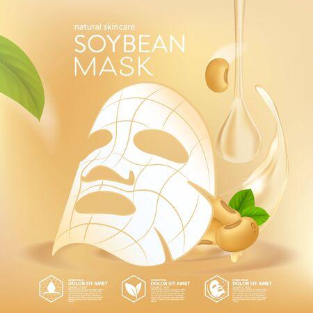 Illustration pour Soybeans Oil serum Natural Skin Care Cosmetic. Moisture Essence vector Illustration. - image libre de droit
