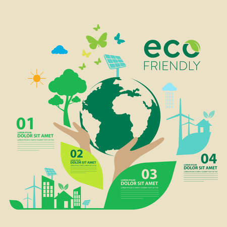 Illustration for Ecology.Green cities help the world with eco-friendly concept ideas.vector illustration - Royalty Free Image