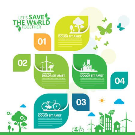 Illustration pour Ecology.Green cities help the world with eco-friendly concept ideas.info graphic template vector illustration - image libre de droit