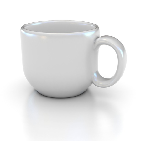 blank white coffee cup on the white background suitable for placing logo or your text on it