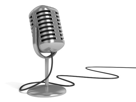 microphone 3d illustration - radio microphone with on the air sign on top isolated over white background