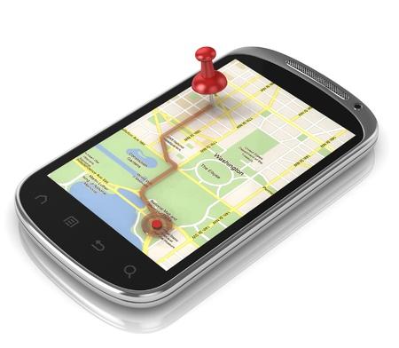Photo pour smart phone navigation - mobile gps 3d concept  - image libre de droit