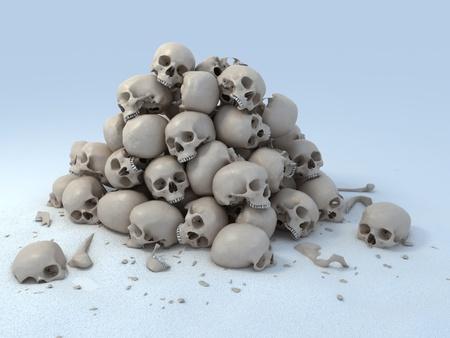 pile of skulls 3d illustration
