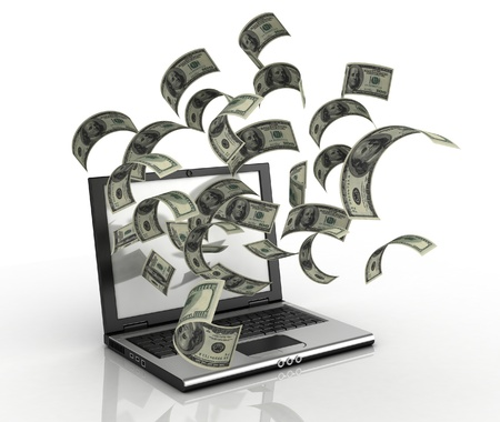 earning money over the internet 3d concept - dollars running out of computer