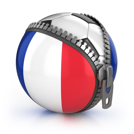 France football nation - football in the unzipped bag with French flag print