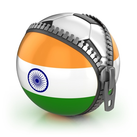 India football nation - football in the unzipped bag with Indian flag print