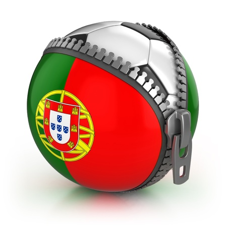 Portugal football nation - football in the unzipped bag with Portugal flag print