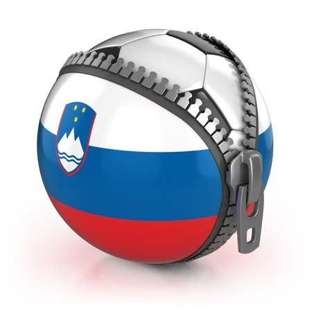 Slovenia football nation - football in the unzipped bag with Slovenian flag print