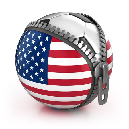 United States of America football nation - football in the unzipped bag with US flag print