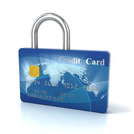 credit card padlock 3d concept