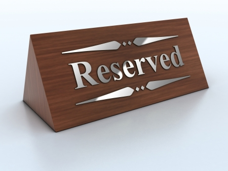 3d Illustration of reservation sign
