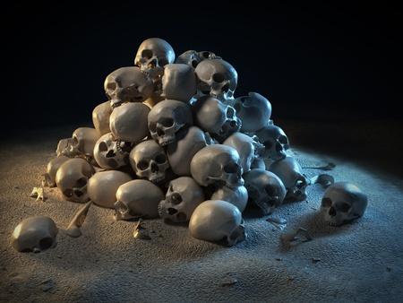 pile of skulls in the dark