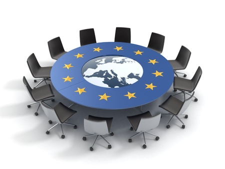 european union round table - EU meeting, conference, chamber, assembly 3d concept