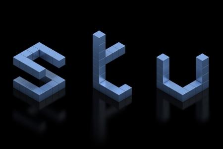 cubical 3d font letters s t u