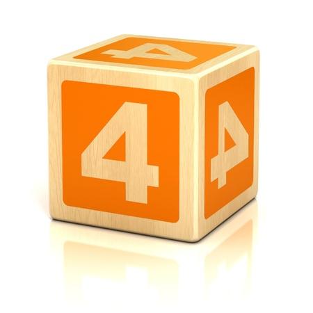 number four 4 wooden blocks font