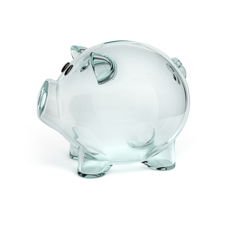 glass piggy bank isolated on white background