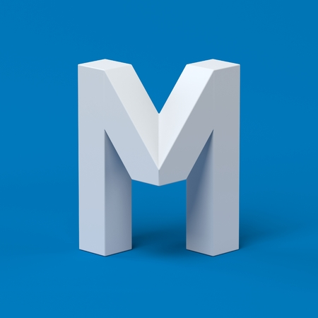 Isometric font letter M 3d