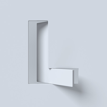 Cut out and rotated font 3d rendering letter L