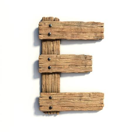 Photo pour Wood font, plank font letter  E - image libre de droit
