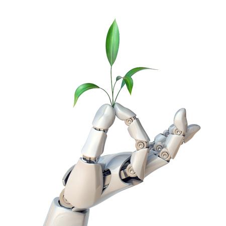 Photo pour Robot hand holding plant, synthetic life, genetic engineering concept, 3d rendering - image libre de droit