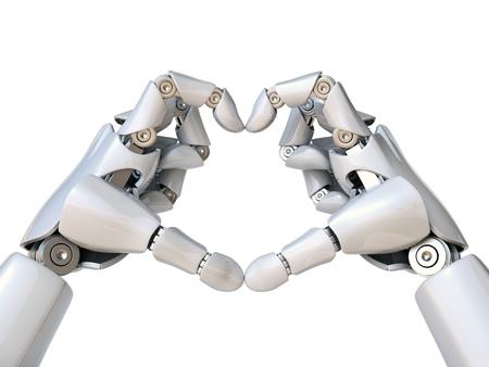 Photo pour Robot hands form heart shape 3d rendering isolated illustration - image libre de droit