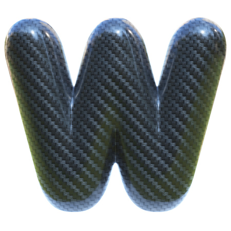 Carbon fiber font letter W  3d isolated illustration