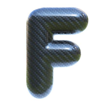 Carbon fiber font letter F  3d isolated illustration