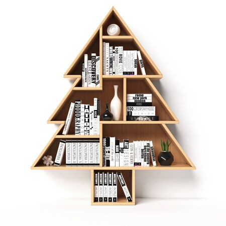 Bookshelves in the shape of Christmas tree, Xmas present, book shelf concept, 3d rendering