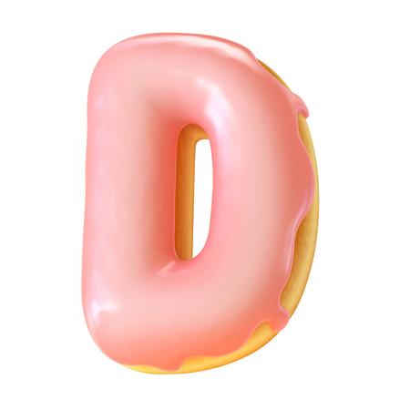 Glazed donut font 3d rendering letter D