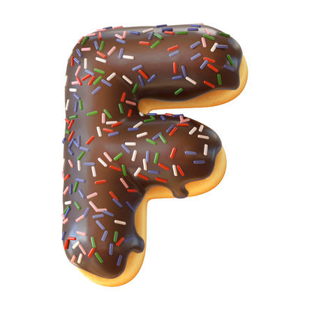 Glazed donut font 3d rendering letter F