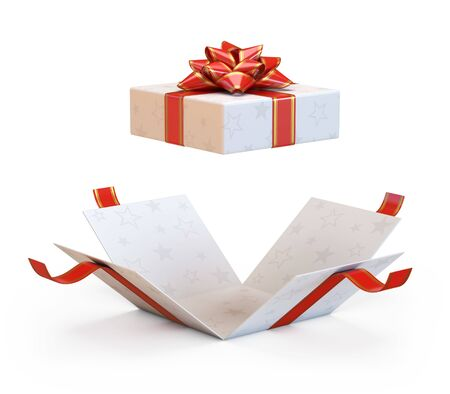 Photo for Open gift box with red bow and ribbon, present exploding 3d rendering - Royalty Free Image