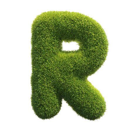 Photo pour Grass font 3d rendering letter R - image libre de droit