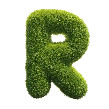 Grass font 3d rendering letter R
