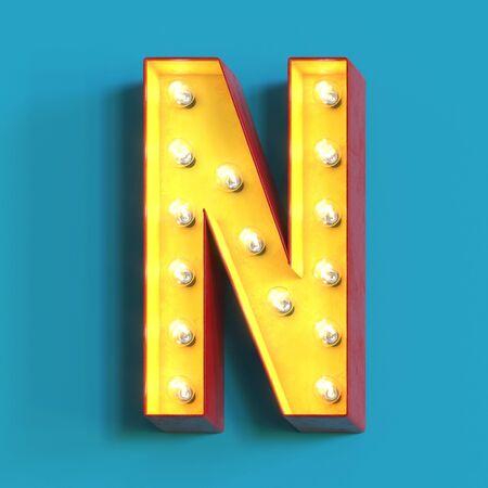 Foto de Light bulb glowing font, 3d alphabet character, 3d rendering, letter N - Imagen libre de derechos