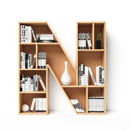 Bookshelves 3d font. Alphabet in the form of book shelves. Mockup font. Letter N 3d rendering