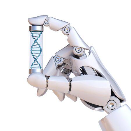 Photo pour Robotic hand holding DNA sample, artificial intelligence concept, bionic brain 3d rendering - image libre de droit