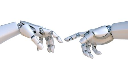 Photo for Two robot hands as Michelangelo's Creation of Adam 3d rendering - Royalty Free Image